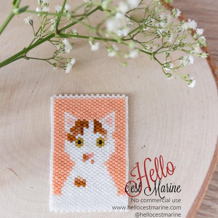 Chat blanc et roux, diagramme pour tissage en perles Miyuki delicas 11/0, par Hello c'est Marine