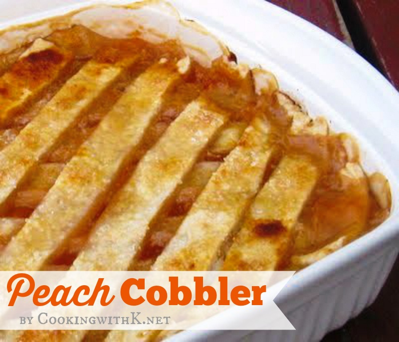 Cooking with k fresh peach cobbler with a homemade double for Peach pie recipe with canned peaches