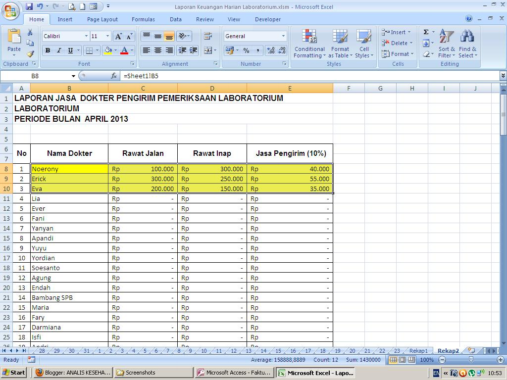 Is Kesehatan No Gaptek Pendapatan Harian Labklin Memakai Countif Dan Sumif Excel