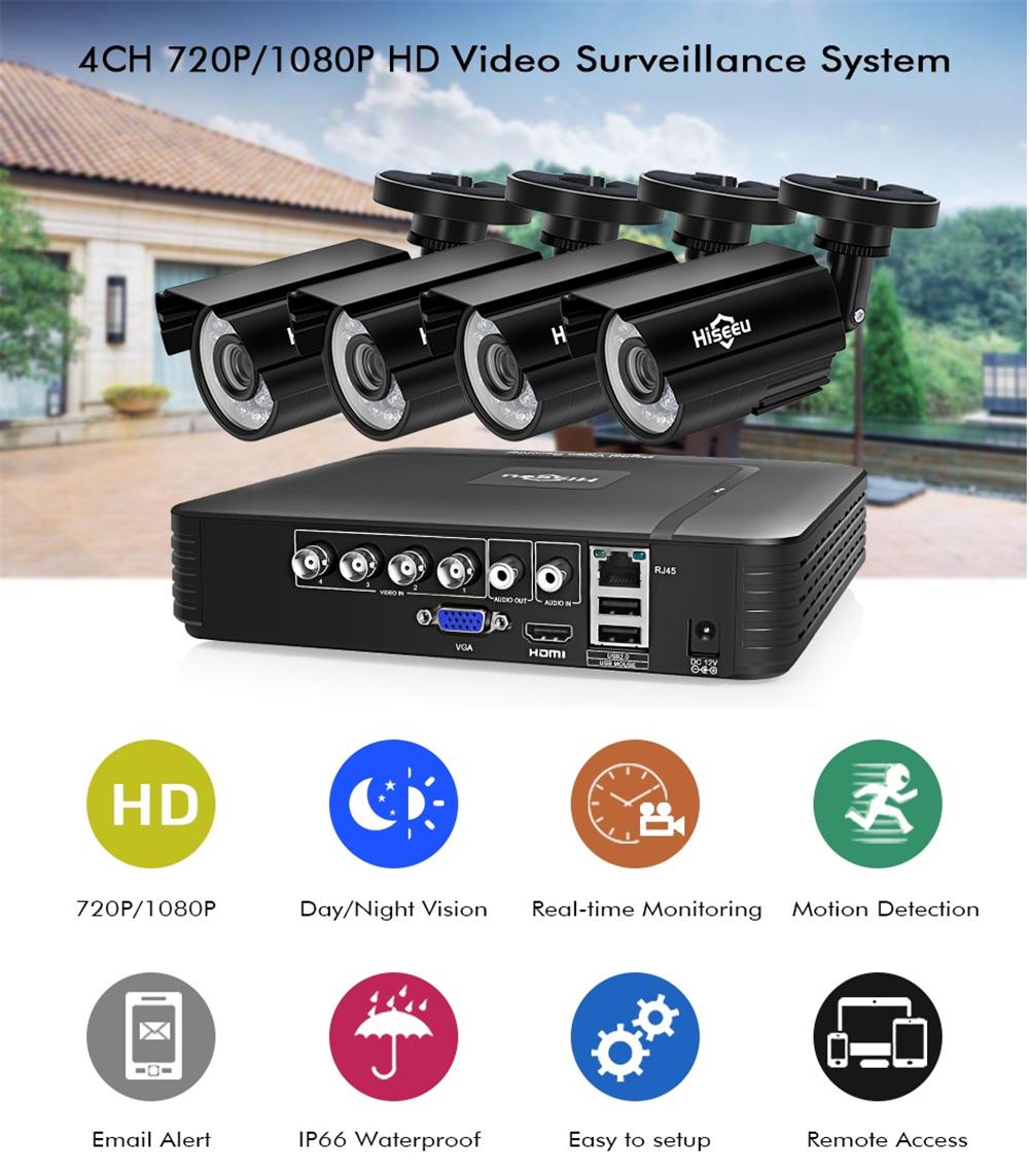 Hiseeu 4CH 1080P AHD Security Camera DVR CCTV Camera System