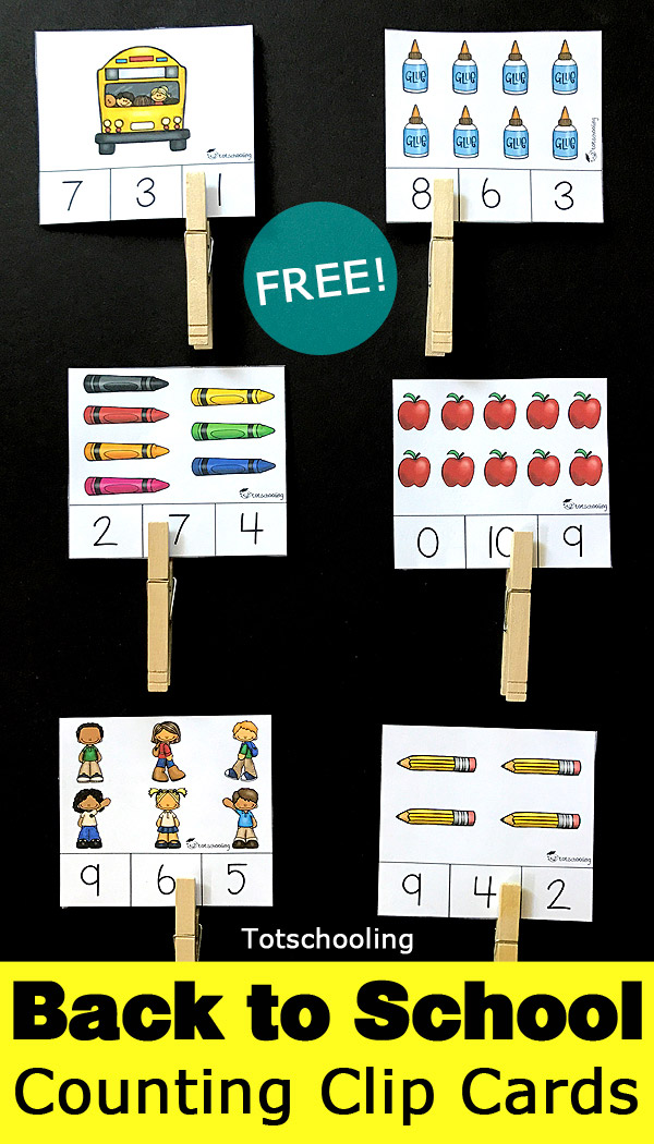 Back to School Counting Clip Cards Free Printables | totschooling