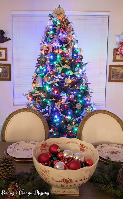 Classic Vintage Christmas tree with vintage ornaments
