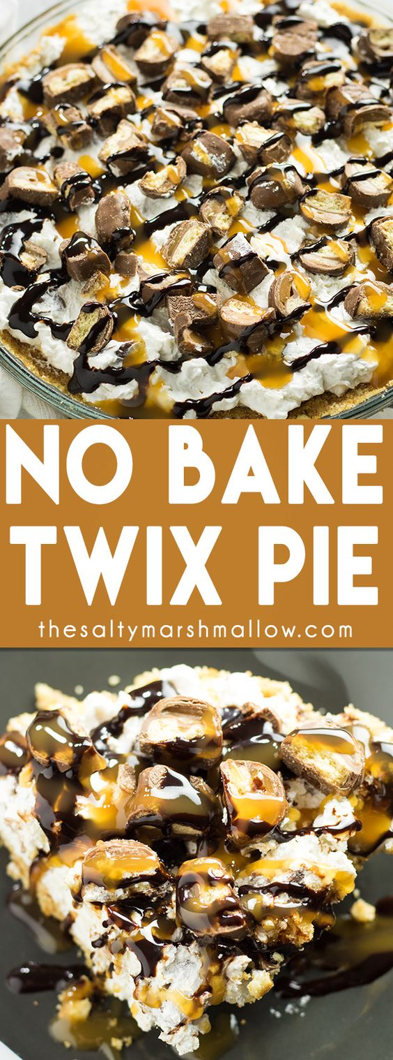 NO BAKE TWIX PIE #nobake #twix #pie #dessert #dessertrecipes #easydessertrecipes