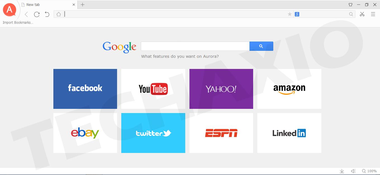 Aurora Browser Screenshot