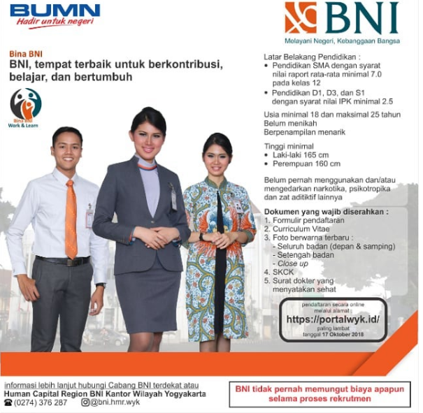 Rekrutmen Terbaru Bank BNI (Persero) Min SMA Sederajat.