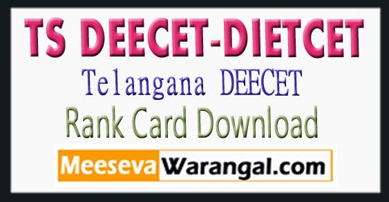 Telangana TS DEECET(DIETCET) 2018-2019 Rank Card Download