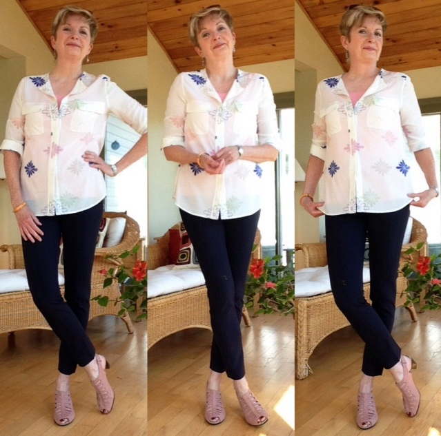 Veronica Beard cropped pants, Equipment silk shirt, Munro sandals