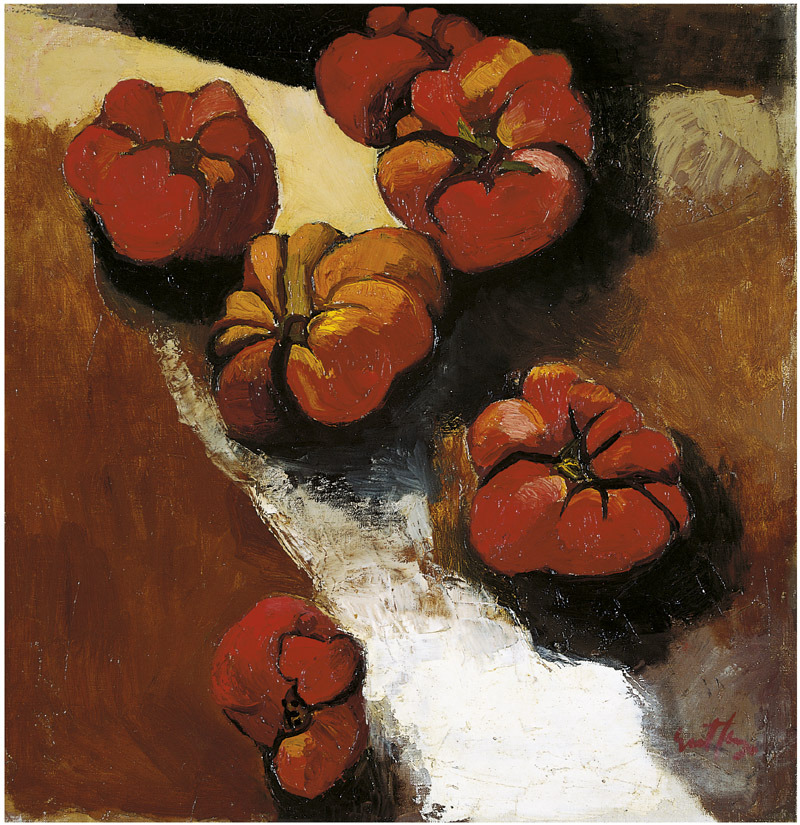 Painting by Renato Guttuso, Sicilian painter. Five red, furrowed tomatoes appear on a brown and white background, perhaps a wooden table.