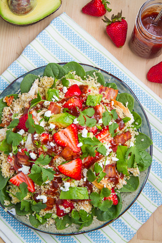 Strawberry BBQ Chicken Spinach and Quinoa Salad with Bacon, Avocado and Goat Cheese Recipe