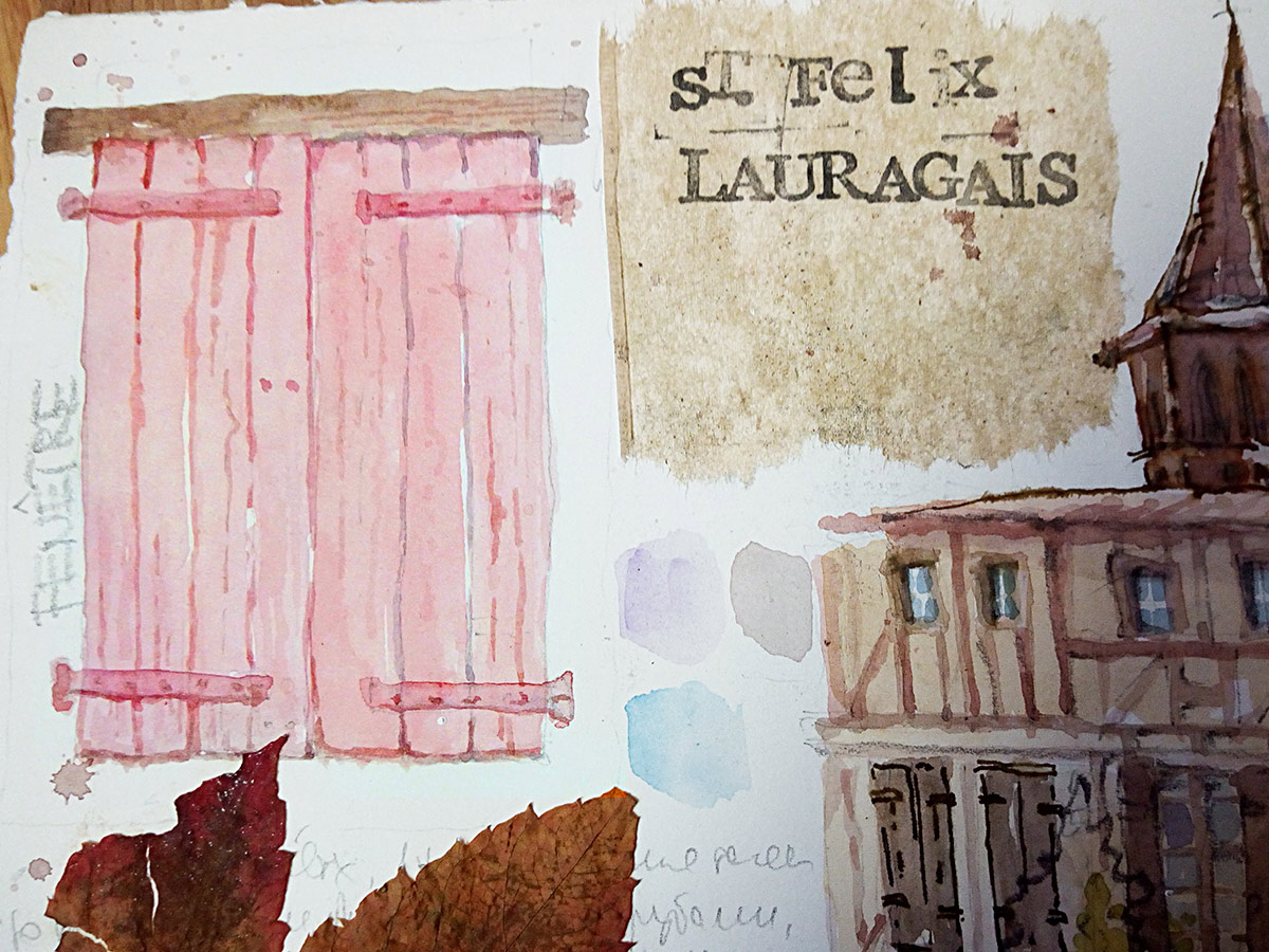 France-sketch-watercolor- Saint-Félix-Lauragais