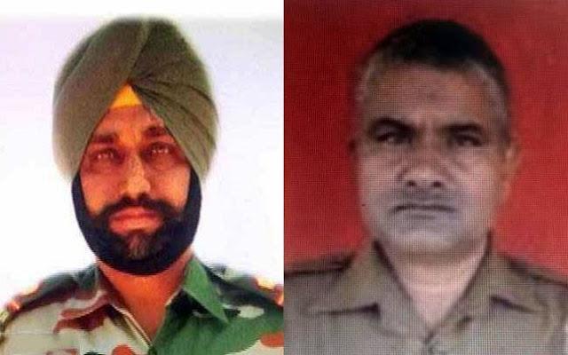 Martyred soldiers Prem Sagar and Naib Subedar Paramjit Singh