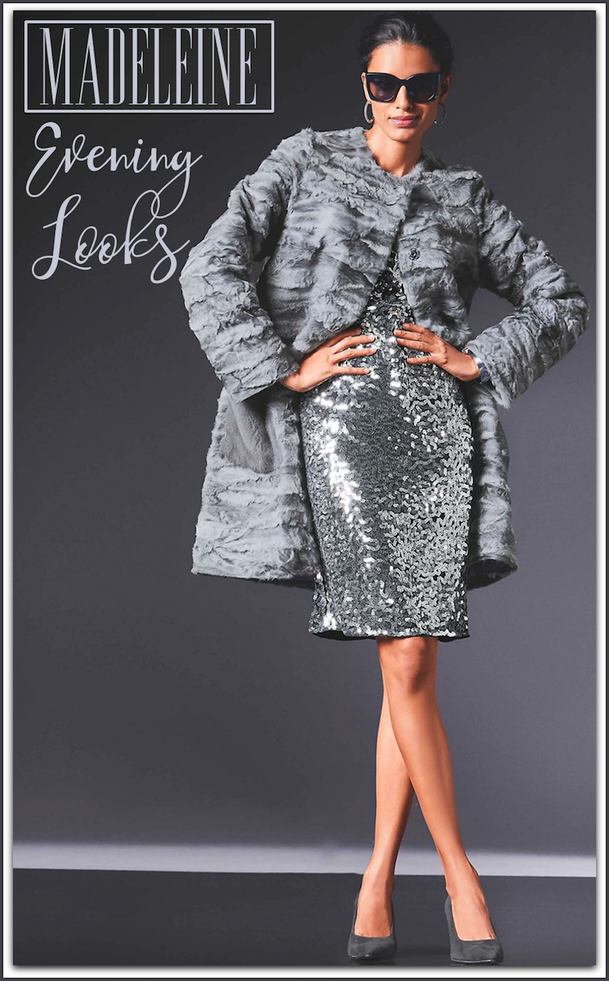 Madeleine Sequin Dress and Lambskin Coat
