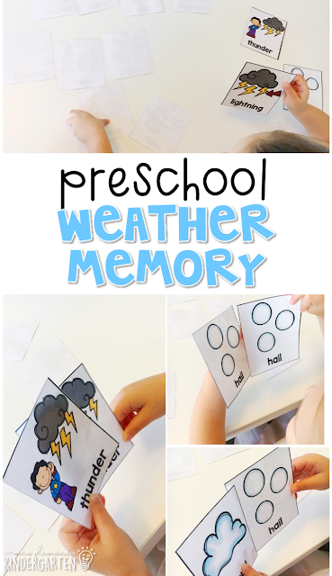 Practice weather vocabulary with this weather memory game. Great for tot school, preschool, or even kindergarten!