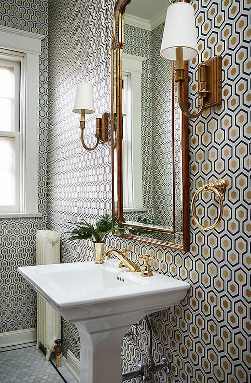 Popular Or what about this Art Deco type print Would love so good with those gold taps and accessories