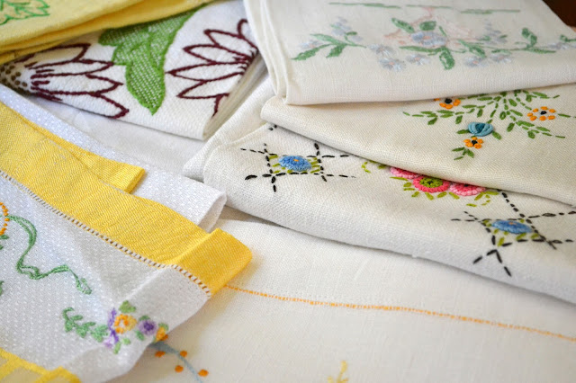 The Needlework Was Basicu2014cross Stitch And Simple Embroidery Stiches, And  Many Of The Patterns Were Pre Printed On The Fabrics. These Linens  Represent The ...