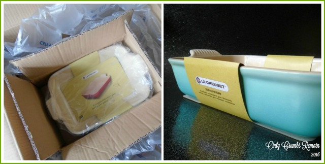 Our Le Creuset dish, in cool mint, courtesy of Steamer Trading Cookshop, arrived well packed almost russian doll like.