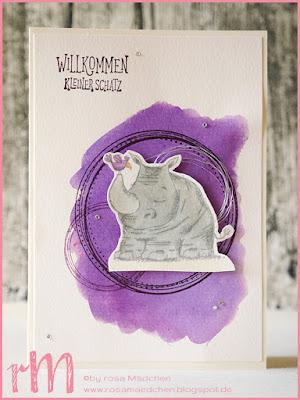 Stampin' Up! rosa Mädchen Kulmbach: Karte zur Geburt mit Wild auf Grüße, Swirly Frames und Brushos
