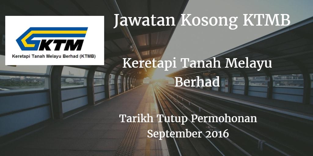Jawatan Kosong KTMB September 2016