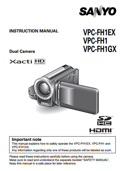 Sanyo HDMI VPC-FH1 Camcoder Manual