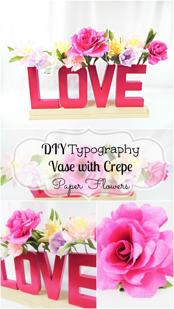 Diy Typography Vase With Crepe Paper Flowers Abbi Kirsten Collections
