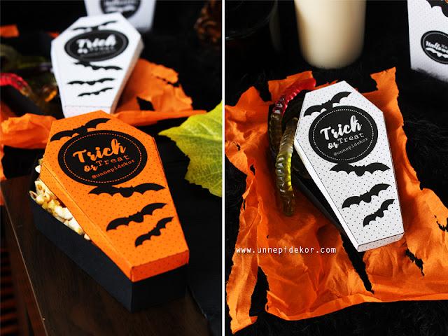 Halloween dekoráció papír koporsó
