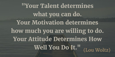 "Motivational Quotes For Work: ""Your talent determines what you can do. Your motivation determines how much you are willing to do. Your attitude determines how well you do it."" - Lou Woltz"