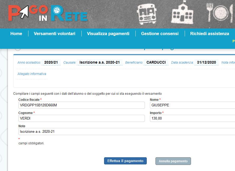 Compilazione dati del genitore che effettua il pagamento della tassa scolastica