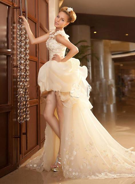 Short Wedding Dress Floral Straps Short Dress (11341044)