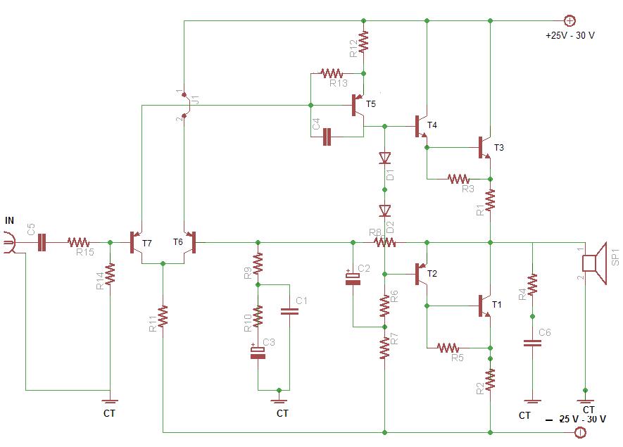 meservice sekema power ampli 60 watt menggunakan transistor final npn. Black Bedroom Furniture Sets. Home Design Ideas