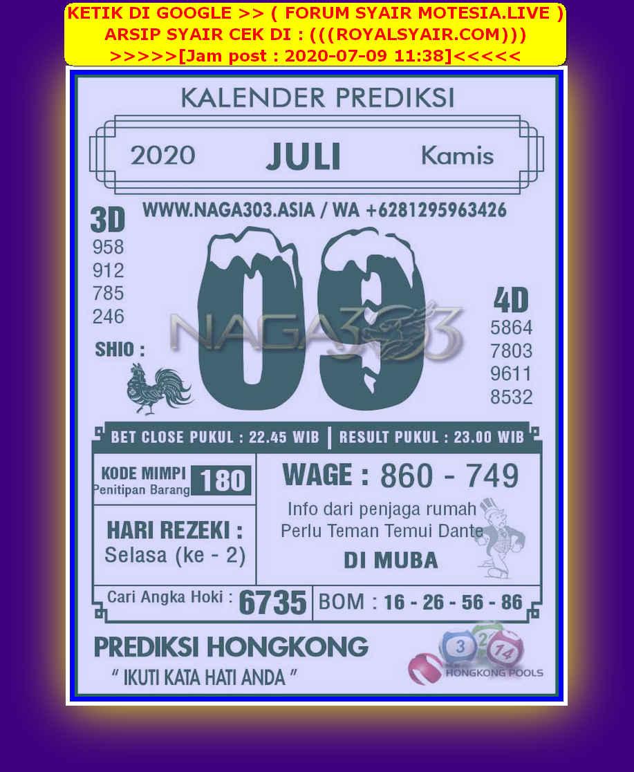 Kode syair Hongkong Kamis 9 Juli 2020 249