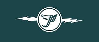 Logo de Pixies. Letra P con alas inscrita en un círculo del que salen dos relámpagos