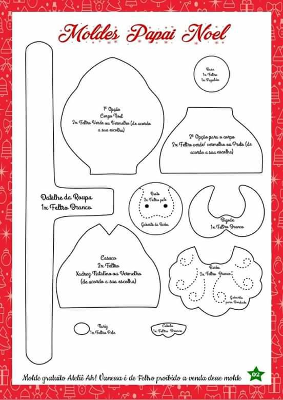 Apostila Papai Noel De Feltro Gratis Para Imprimir Como Fazer
