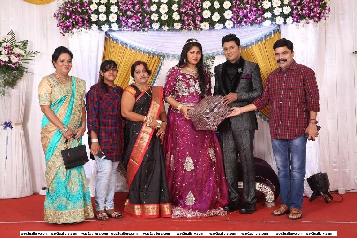 Powerstar Srinivasan clicked at director Shakthi Scott and Samsihas wedding reception
