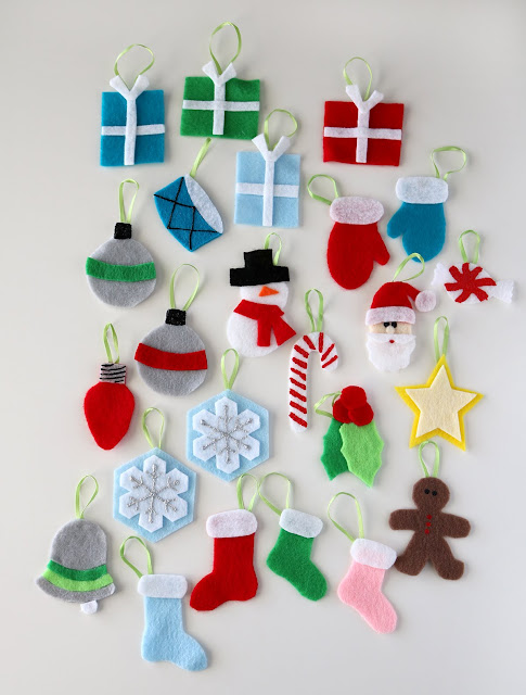Felt advent calendar ornaments pattern