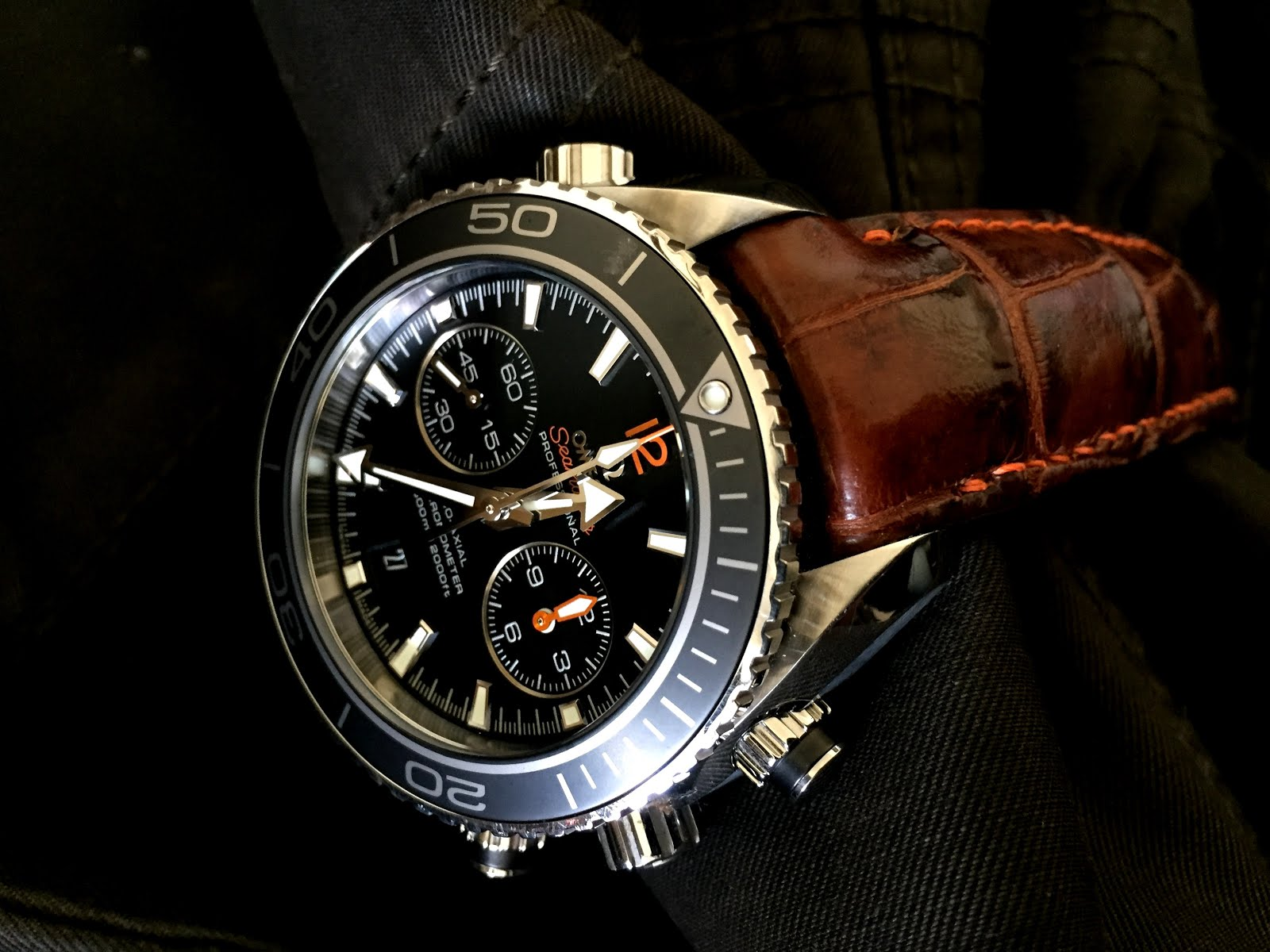 Daniel's great looking Omega Planet Ocean Chronograph on Caramel Brulee Alligator strap