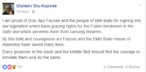 FFK commends Gov. Fayose for signing Ekiti state's Open Grazing prohibition bill into law