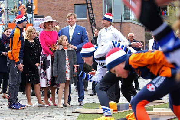 King Willem-Alexander, Queen Maxima, Princess Amalia, Princess Alexia and Princess Ariane, Princess Laurentien, Pieter van Vollenhoven, Prince Maurits and Prince Constantijn attend the 2016 Kings Day celebration in Zwolle
