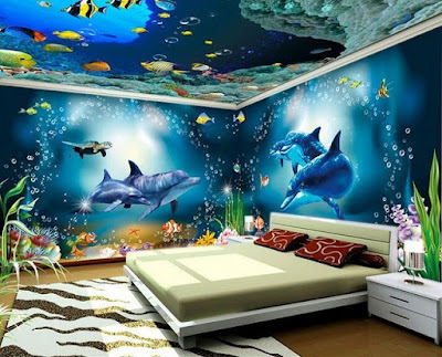 3D effect wallpaper images for walls and ceilings