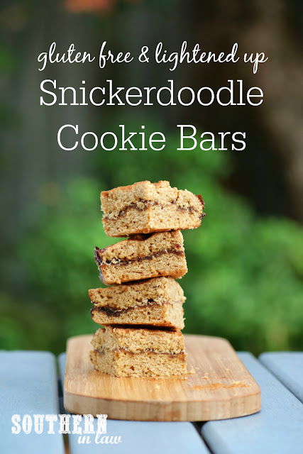 Easy Gluten Free Snickerdoodle Cookie Bars Recipe - snickerdoodle blondies, healthy, low fat, gluten free, refined sugar free, nut free