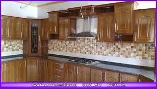 مطبخ المنيوم خشابي لميع جرانيت تان براون  موقع التركيب مدينة معان