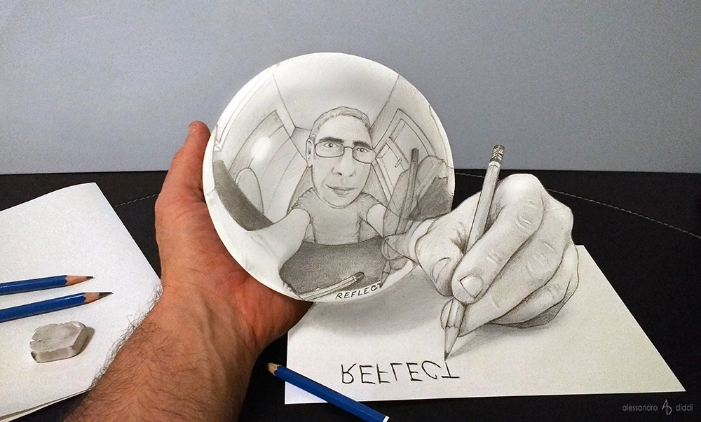 09-Reflection-Alessandro-Diddi-Anamorphic-Optical-Illusions-that-look-like-3D-Drawings-www-designstack-co