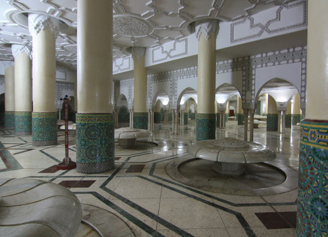 Casablanca, Marruecos, Gran Mezquita, Hassan II, blog de viajes, sala de abluciones, fuentes