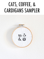 Cats, Coffee, & Cardigans Cross Stitch Pattern