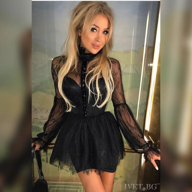 Μεσάτο εντυπωσιακό κοντό  μαύρο φόρεμα VARVARA