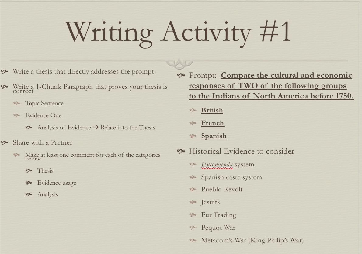 Thiemann's APUSH: Jan 22 - Writing Review Activity #1 (SUB DAY)