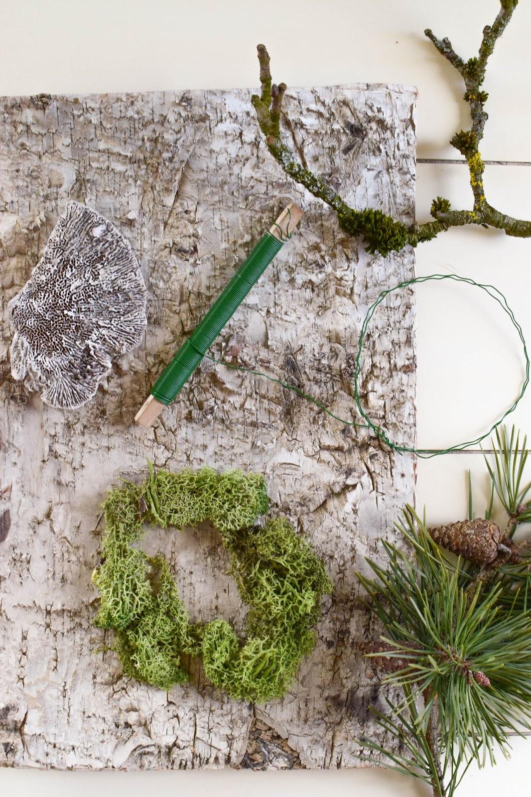 Anleitung Kranz binden aus Moos für den Herbst und Winter. DIY Dekoration basteln einfach selbermachen: Naturmaterialien basteln 10