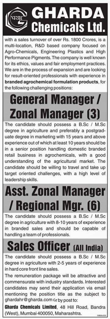 Naukri-Job-Employment: GHARDA Chemicals Ltd  Invited