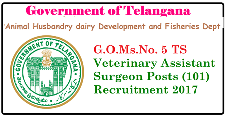 G.O.Ms.No. 5 TS Veterinary Assistant 101 Surgeon Posts Recruitment 2017| Telangana(TS) veterinary assistant recruitment notification 2017, Veterrinaty qualification in Telangana|TS Veterinary Assistant | TS Veterinary Assistant recruitment 2017 Model Papers | TS Veterinary Assistant job Application | Veterinary Recruitment 2017 | TS Veterinary Assistant Job Application| TS Telangana Veterinary Assistant 101 Surgeon Posts Recruitment 2017 in AHDD&F-ANIMAL HUSBANDRY DAIRY DEVELOPMENT & FISHERIES (AH) DEPARTMENT Director of Animal Husbandry , Hyderabad has submitted proposals and requested the Governmnt to accord Permission to fill up 101 posts of Veterinary Assistant Surgeon on contract basis in Animal Husbandry Dept.http://www.paatashaala.in/2017/04/gomsno-5-ahdd-animal-husbandry-dairy-development-fisheries-dept-recruitment-veterinary-assistant-surgeon-posts-2017-contract-basis.html
