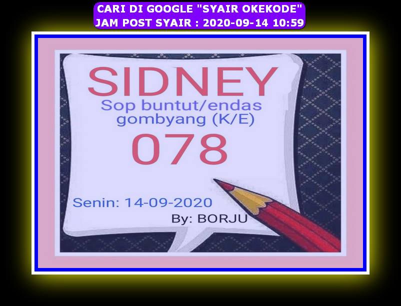Kode syair Sydney Senin 14 September 2020 72