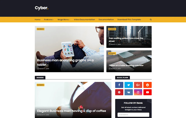Cyber Responsive Magazine News Tech Tutorial Tips & Trick Life Hacks Blogger Template Theme